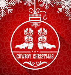 Cowboy red christmas card with text on ball vector image