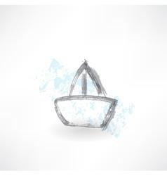 boat grunge icon vector image