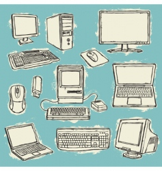 computers set converted v vector image vector image