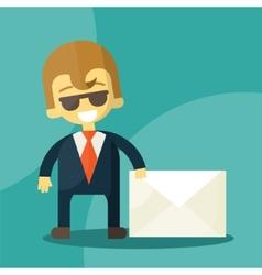 Set of businessman holding letter vector image