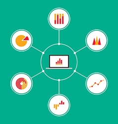 Set of infographic business charts flat design vector image