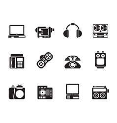 Silhouette media and technical equipment icons vector image vector image