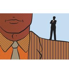 Businessman on shoulder of giant vector