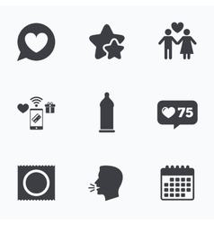Condom safe sex icons Lovers couple sign vector image vector image