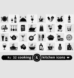 cooking and kitchen icons set vector image vector image