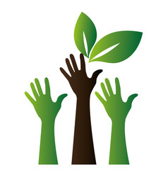 Hands human with leafs vector