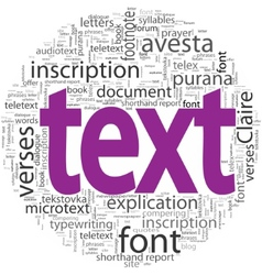 text concept in word tag cloud isolated vector image