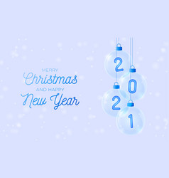 2021 happy new year blue number in glass bauble vector image