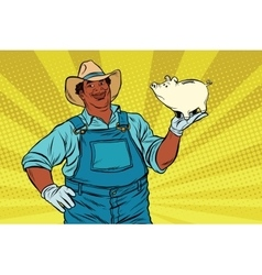 African American farmer with a pig-piggy Bank vector image