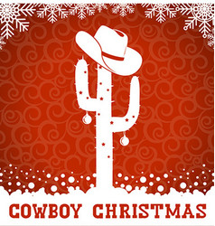 American Cowboy red christmas card with cactus and vector
