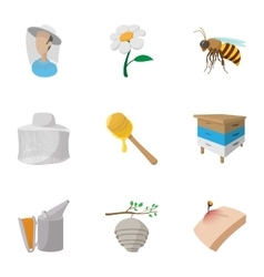 Apiary icons set cartoon style vector image
