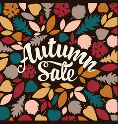 autumn sale design with colorful leaves vector image