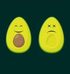 Avocado two smile colour flat silhouettes vector