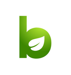 B initial for leaf logo template vector