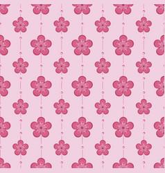 Beautiful pink cherry blossom seamless pattern vector