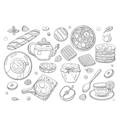 Black and white hand drawn elements for breakfast vector