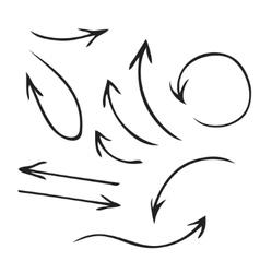 Black arrows hand drawn set vector