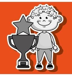 boy trophy star icon vector image