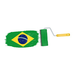 brush stroke with brazil national flag isolated on vector image