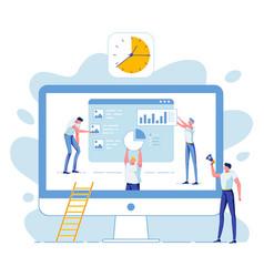 Business team statistical data analysis deadline vector
