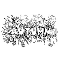 cartoon autumn word with doodle elements pumpkin vector image