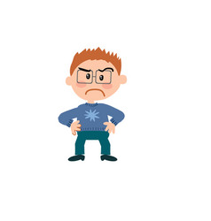 Cartoon character of a serious boy with glasses vector