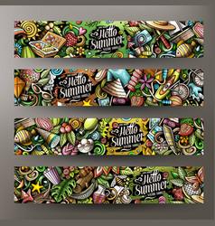 Cartoon cute doodles summer horizontal banners set vector