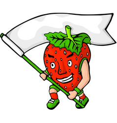 cartoon red angry strawberry with white flag vector image