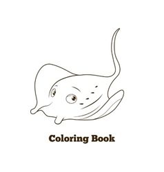 Coloring book stingray cartoon educational vector