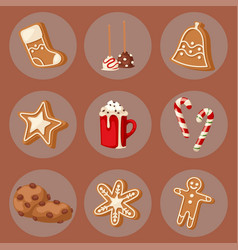 Cookie traditional christmas food cards desserts vector