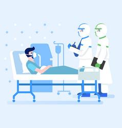 Coronavirus infected patient on bed in hospital vector