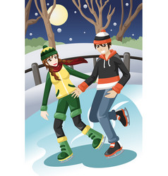 Couple ice skating vector