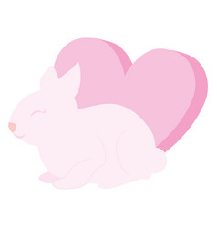 cute and little rabbit with heart love vector image