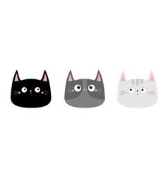cute black gray cat kitten kitty head face vector image