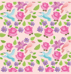 cute flowers birds natural decoration background vector image