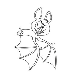 Cute halloween bat flying outlined for coloring vector