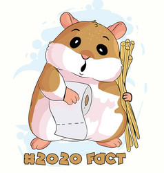 cute hamster with toilet tissur vector image