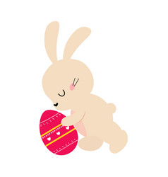 cute little bunny with decorated egg adorable vector image
