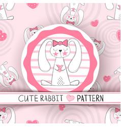 cute seamless pattern - rabbit cartoon vector image