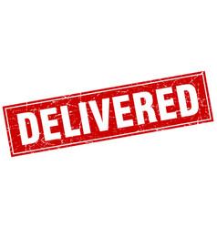 Delivered square stamp vector