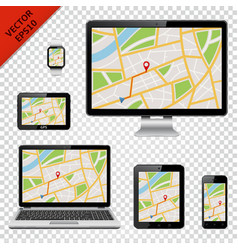 Digital devices with gps map on screen vector