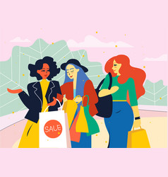 female friends go from the store with shopping vector image