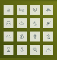finance icons line style set with businesswoman vector image