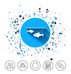 fish in water sign icon fishing symbol vector image