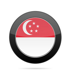flag of singapore shiny black round button vector image