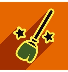 Flat with shadow Icon Broom and stars on colored vector