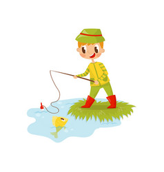 funny red-haired boy fishing on the shore summer vector image