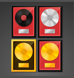 Golden platinum hit collection disc vector