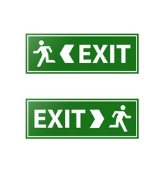 Green emergency exit sign vector
