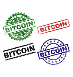 Grunge textured bitcoin seal stamps vector